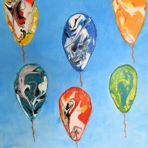 Floating Colourful Balloons Painting